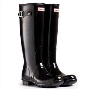 Hunter Original Tall Black Gloss Rain Boots Size 7